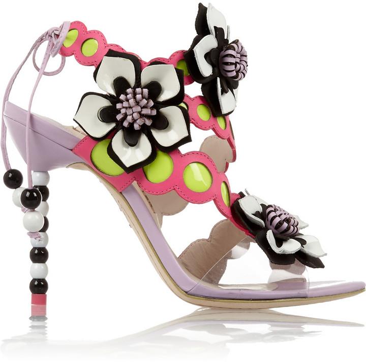 Sophia Webster Amazona floral-appliquéd leather sandals