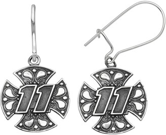 "Insignia Collection NASCAR Denny Hamlin Stainless Steel ""11"" Maltese Cross Drop Earrings"