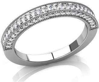 South Beach Diamonds 1.00 ct Round Cut Diamond Antique Style Weddin Band in Platinum in Size 15