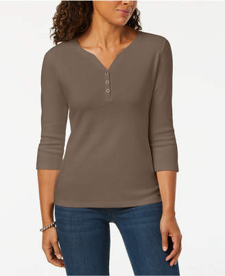 Karen Scott Cotton Henley Top, Created for Macy's
