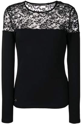 Philipp Plein lace panel jersey top