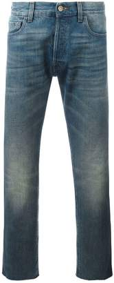 Gucci cropped jeans with tiger patch