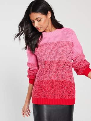 Very OmbreThick Knit Twist Jumper - Pink/Red