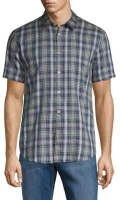 John Varvatos Plaid Short-Sleeve Button-Down Shirt