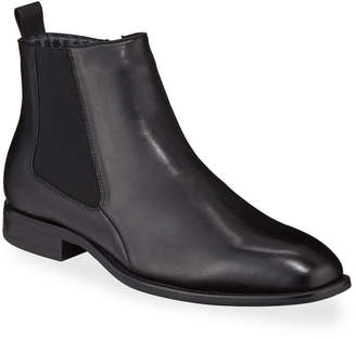 Karl Lagerfeld Paris Men's Side Zip Leather Chelsea Boots