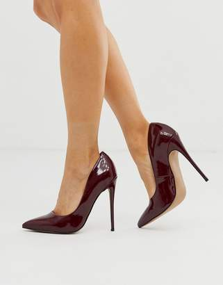 Asos Design DESIGN Penelope stiletto pumps in oxblood