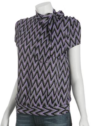 Michael Kors lavender silk neck tie cap sleeve blouse