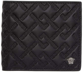 Versace Black Embossed Greek Wallet