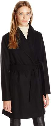 Tommy Hilfiger Women's Wool Wrap Coat with Pick Stitching