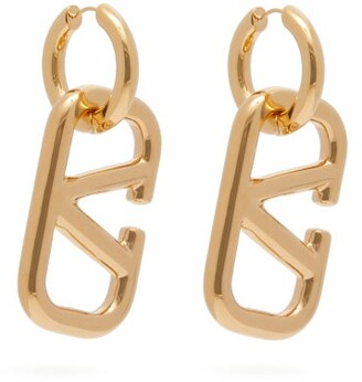 Valentino V Logo Drop Earrings - Womens - Gold