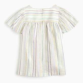 J.Crew Girls' flutter-sleeve top in rainbow stripe