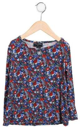 Oscar de la Renta Girls' Long Sleeve Floral Top