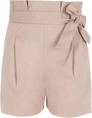 River Island Girls Beige paper bag waist shorts
