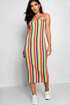 boohoo Square Neck Cami Stripe Midaxi Dress