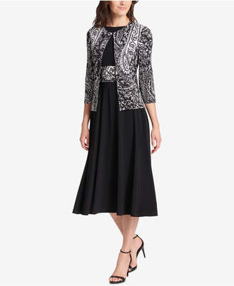 Jessica Howard Petite Paisley-Print Jacket & Midi Dress