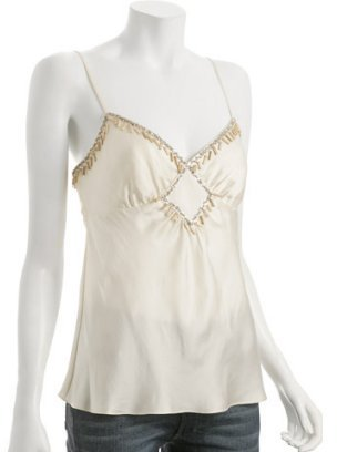 BCBGMAXAZRIA ivory washed silk charm camisole