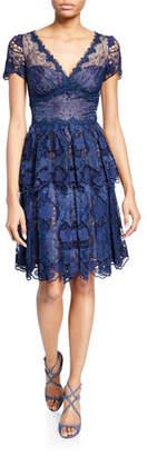 Marchesa V-Neck Short-Sleeve Floral Eyelet Organza & Scalloped Guipure Lace Dress