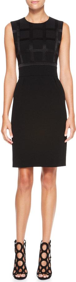 Escada Sleeveless Windowpane Dress, Black