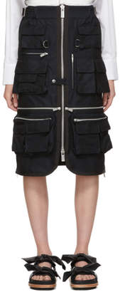 Sacai Navy Gabardine Pocket Skirt