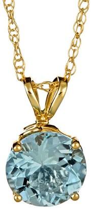 "1.00 ct Round Aquamarine Pendant w/18"" Chain, 14K Gold"
