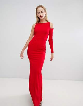 Forever Unique Cut Out Sleeve One Shoulder Maxi Dress
