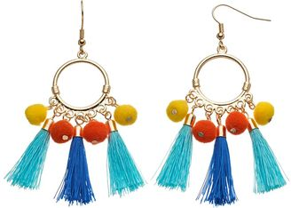 Pom Pom & Tassel Drop Hoop Earrings $18 thestylecure.com