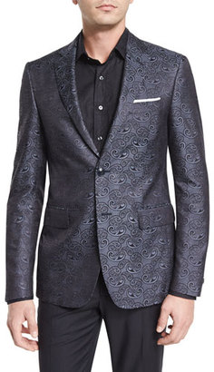 Etro Paisley-Print Silk Evening Jacket, Charcoal $1,995 thestylecure.com