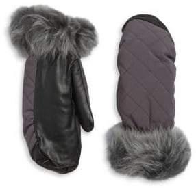 UGG Shearling-Trim Touchscreen Mittens