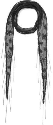 Chan Luu Embellished Embroidered Chiffon Scarf - Black