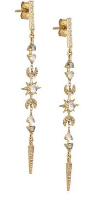 Celine Daoust Long Moon and Sun Dangle Earrings - Yellow Gold