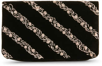 La Regale Jeweled Stripe Velvet Clutch
