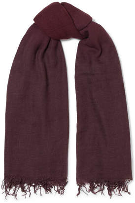Chan Luu Fringed Ombré Cashmere And Silk-blend Scarf - Burgundy
