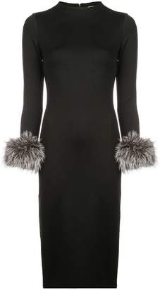 Alice+Olivia Delora fur cuff midi dress