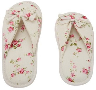Deluxe Comfort Printed Cotton Women Memory Foam Slippers, Butterfly Tie, Floral Peonies, 5-6