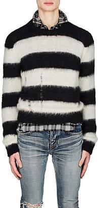 Saint Laurent Men's Blocked-Striped Mohair-Blend Oversized Sweater - Ivorybone