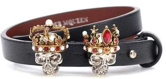 Alexander McQueen Embellished leather bracelet