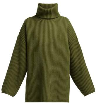 Acne Studios Ribbed Knit Roll Neck Wool Sweater - Womens - Khaki