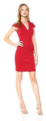 T Tahari Women's Elizabella Plush Knit V-Neck Short Sleeve Dress