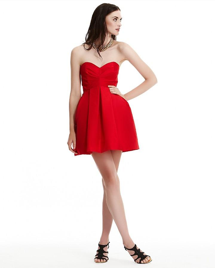 Jill Stuart Short Strapless Taffeta Party Dress