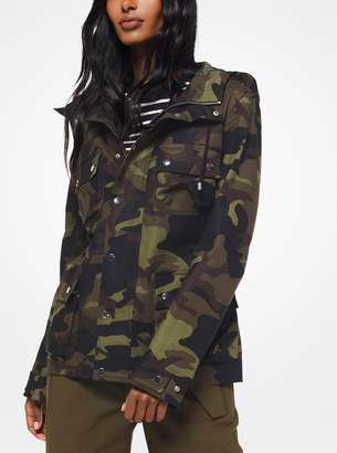 Michael Kors Camouflage Stretch Cotton-Broadcloth Cargo Jacket