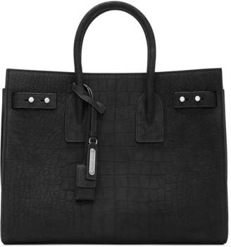Saint Laurent Black Croc Small Sac de Jour Bag
