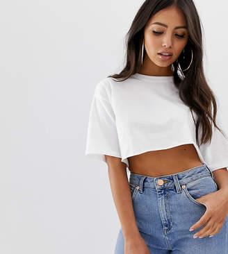 257b73f48a15b Asos DESIGN Petite super crop t-shirt with raw edge in white
