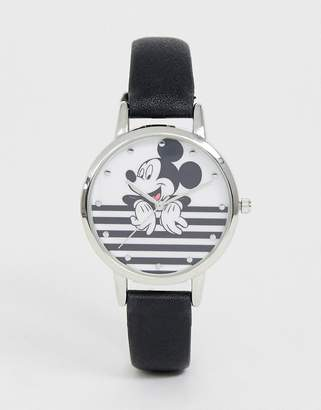 Disney mickey mouse stripe watch in black/white