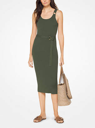 Michael Kors Belted Ribbed Knit Dress