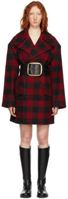 Charles Jeffrey Loverboy Red and Black Checkered Great Peacoat