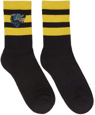 Gucci Black Striped Wolf Socks