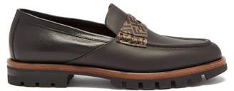 Fendi Logo Embellished Leather Penny Loafers - Mens - Black Brown