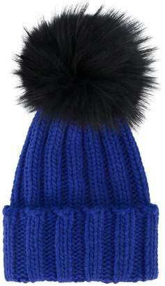 Inverni Blue ribbed cashmere hat with fur pom pom