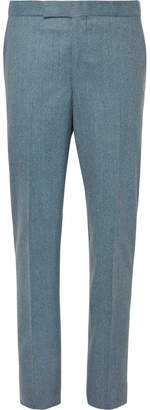 Richard James Aqua-Blue Slim-Fit Mélange Wool-Flannel Suit Trousers
