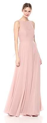 Jenny Yoo Women's Elizabeth Chiffon Illusion Neckline Open-Back Long Gown,6